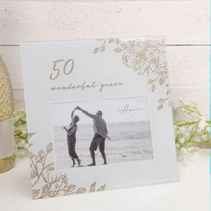 "Amore Grey Glass Gold Floral Photo Frame 6x4"" - 50 Wonderful Years"