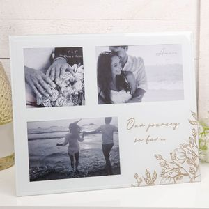 Amore Grey Glass Gold Floral Glass Collage Photo Frame - Our Journey So Far