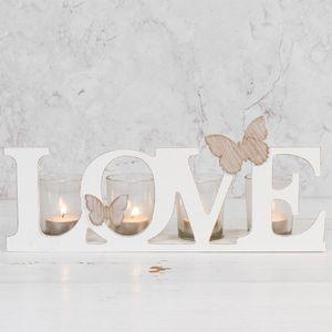 Hestia Wood & Glass Sentiment Tea Light Candle Holder - Love