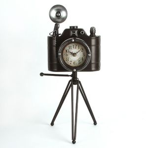 Hometime Metal Mantel Clock - Camera with Tripod