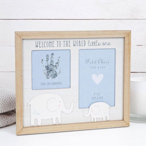 """Petit Cheri Baby Hand Print & Photo Frame 4"""" x 6"""" - Welcome to the World (Blue)"""
