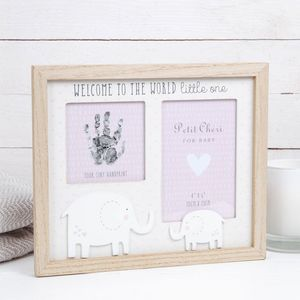 "Petit Cheri Baby Hand Print & Photo Frame 4x6"" - Welcome to the World (Pink)"