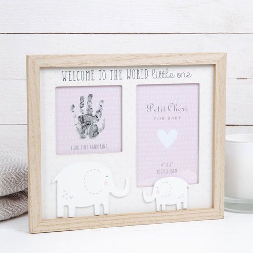 """Petit Cheri Baby Hand Print & Photo Frame 4"""" x 6"""" - Welcome to the World (Pink)"""