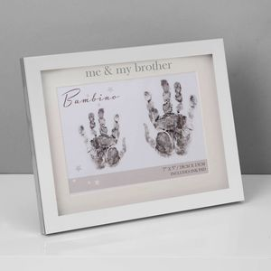 Juliana Bambino Silver Plated Hand Print Frame with Ink Pad - Me & My Brother
