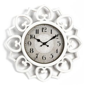 Hometime Petal Style Edged White Plastic Wall Clock 40cm
