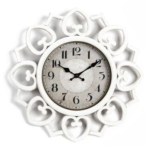 Hometime Petal Style Edged White Plastic Wall Clock (40cm)