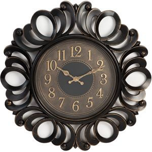 Black Plastic Wall Clock Swirl Cut Out Edge 45cm