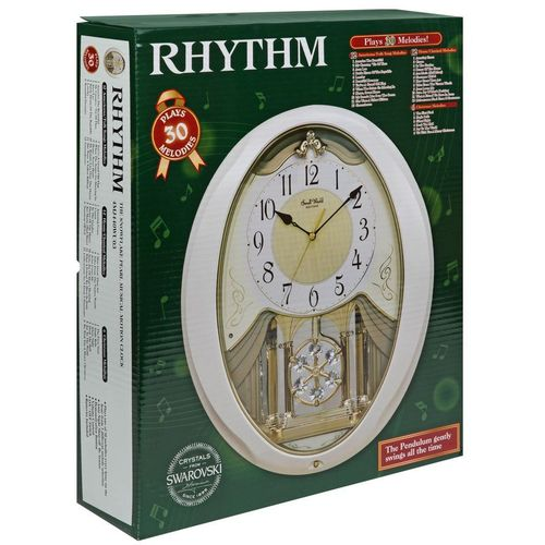 Snowflake Pearl Rhythm Magic Motion Musical Clock with Swarovski Crystals
