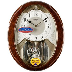 Rhythm Magic Motion Musical Clock with Swarovski Crystals - Oval Wood Effect