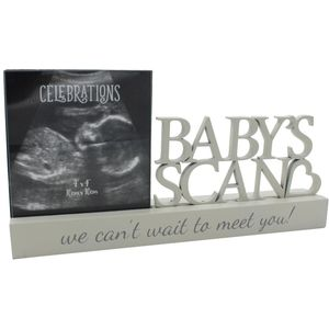 "Celebrations Sentiment Word Block Photo Frame 4x4"" - Babys Scan"