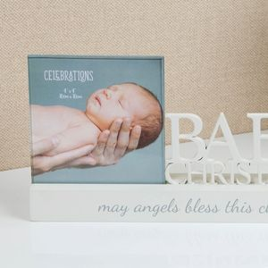 "Celebrations Sentiment Word Block Photo Frame 4"" x 4"" - Babys Christening"