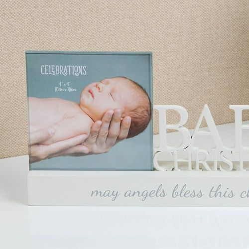 "Celebrations Sentiment Word Block Photo Frame 4"" x 4"" - Baby`s Christening"