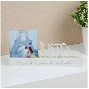 "Celebrations Sentiment Word Block Photo Frame 4x4""- Just Engaged"