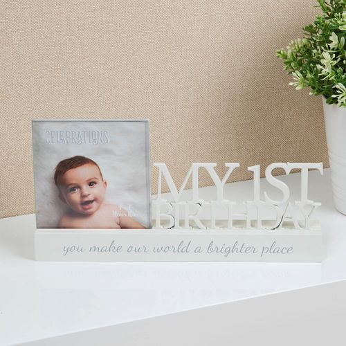 "Celebrations Sentiment Word Block Photo Frame 4"" x 4"" - My First Birthday"