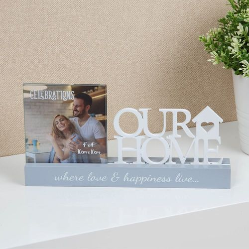 "Celebrations Sentiment Word Block Photo Frame 4"" x 4"" - Our Home"
