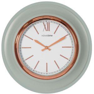 Hometime Round Wall Clock Grey/Rose Gold Bezel 36cm