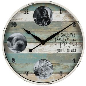 Hometime Round Photo Wall Clock - Pets Leave Paw Prints On Your Heart