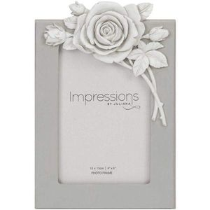 "Juliana Impressions Grey Resin Photo Frame with Rose Decal 4"" x 6"""