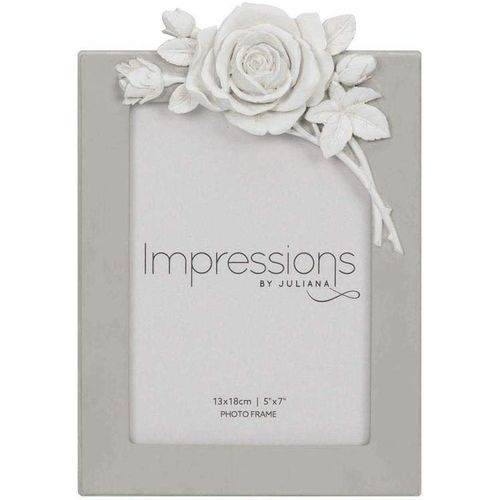 "Juliana Impressions Grey Resin Photo Frame with Rose Decal 5"" x 7"""