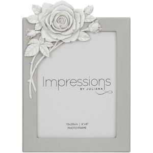 """Juliana Impressions Grey Resin Photo Frame with Rose Decal 6"""" x 8"""""""