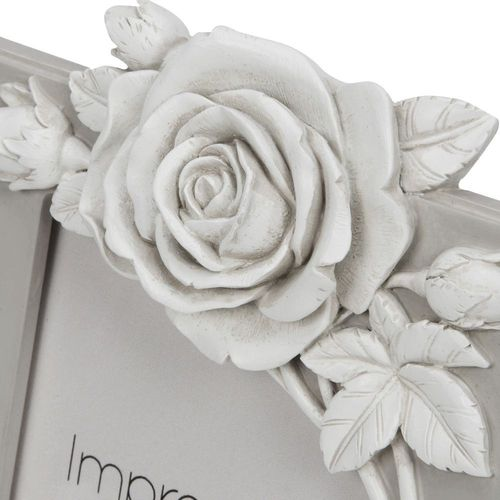 """Impressions Grey Resin Photo Frame With Rose Decal  6"""" x 8"""""""