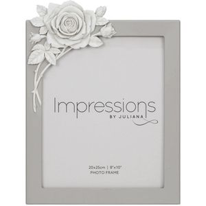 """Juliana Impressions Grey Resin Photo Frame with Rose Decal 8"""" x 10"""""""