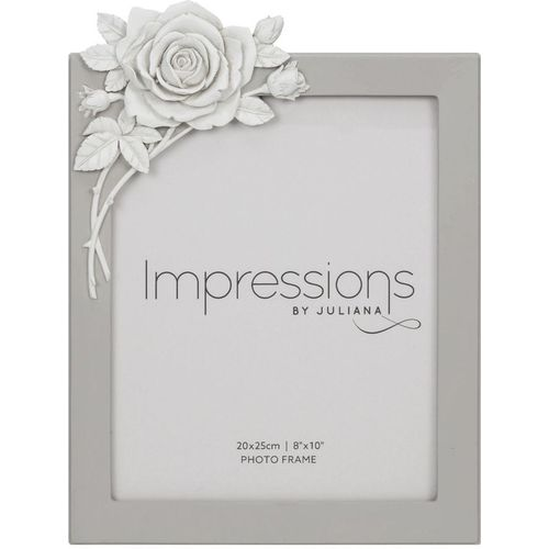 """Impressions Grey Resin Photo Frame with Rose Decal  8"""" x 10"""""""