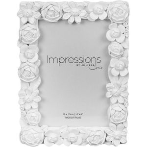 "Juliana Impressions White Resin Floral Photo Frame 4"" x 6"""
