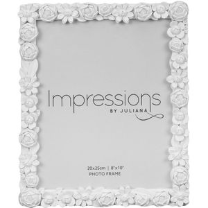 Impressions White Resin Floral Photo Frame 8x10""