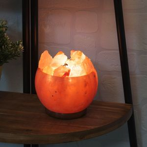 Hestia Home Collection Himalayan Rock Salt Fire Effect Basket Lamp