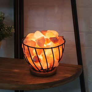 Home Living Himalayan Rock Salt Metal Basket Lamp