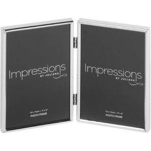 "Juliana Impressions Silver Plated Double Photo Frame 4""x 6"""