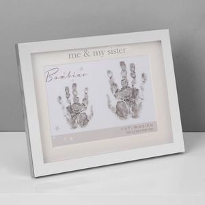 Juliana Bambino Silver Plated Hand Print Frame with Ink Pad - Me & My Sister
