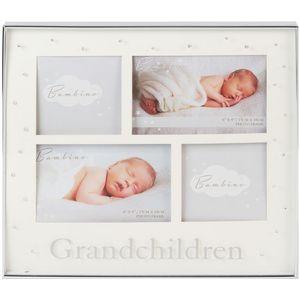 Silverplated Photo Frame 4 Apertures Grandchildren