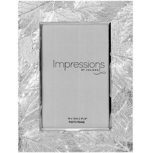 "Juliana Impressions Shiny Silver Plated Leaf Design Photo Frame 4"" x 6"""