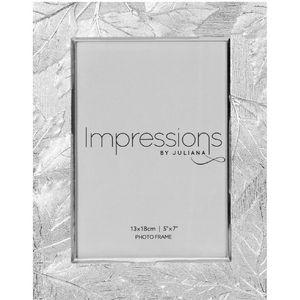 "Impressions Shiny Silverplated Leaf Design Frame 5x7"""