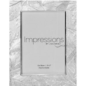 "Juliana Impressions Silver Plated Leaf Design Photo Frame 5"" x 7"""
