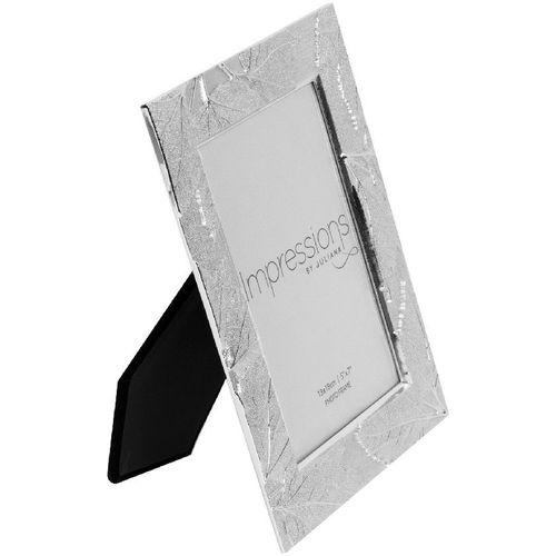 "Juliana Impressions Shiny Silver Plated Leaf Design Photo Frame 5"" x 7"""
