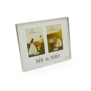"Amore Silver Plated Double Photo Frame 4x6"" - Mr & Mrs"