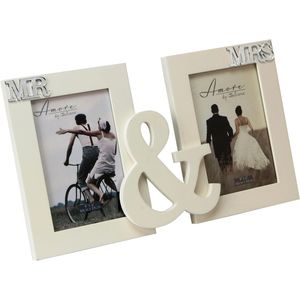 "Amore Double Photo Frame 4x6"" - Mr & Mrs"