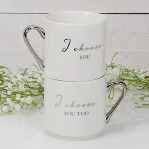 Amore Stackable Bone China Mug Gift Set - I Choose You & I Choose You Too