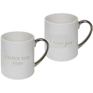 Amore Bone China 2 Mugs Gift Set - I Love You & I Love You Too