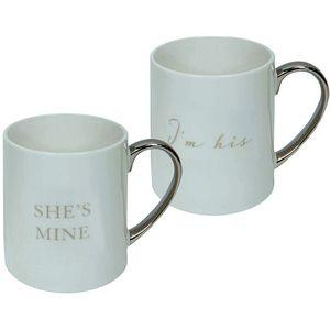 Amore Bone China 2 Mugs Gift Set - Im His & Shes Mine