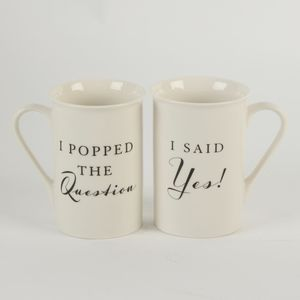 Amore Stoneware 2 Mugs Gift Set - I Popped The Question & I Said Yes