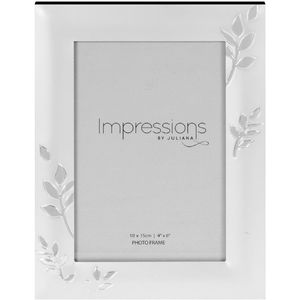 "Juliana Impressions Two Tone Silver Plated Leaf Design Photo Frame 4"" x 6"""