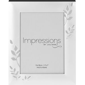 "Juliana Impressions Two Tone Silver Plated Leaf Design Photo Frame 5"" x 7"""