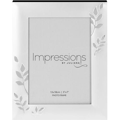 "Juliana Impressions Two Tone Silver Plated Leaf Design Photo Frame 5"" x 7"""