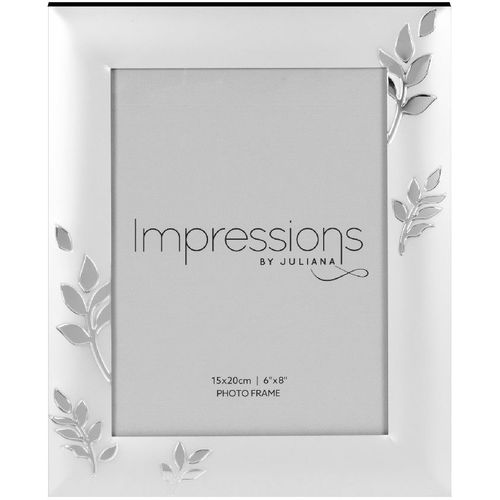"Juliana Impressions Two Tone Silver Plated Leaf Design Photo Frame 6"" x 8"""