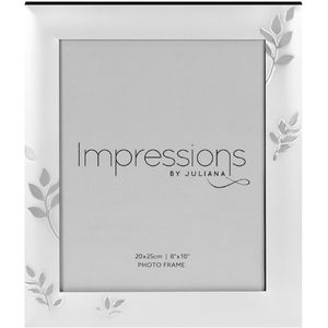 "Juliana Impressions Two Tone Silver Plated Leaf Design Photo Frame 8"" x 10"""