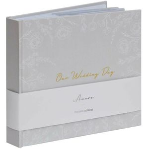 "Amore Grey Floral Wedding Photo Album Holds 50 5"" x 7"" Prints"
